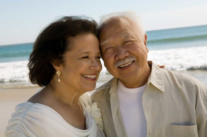 dental crown patients taking selfie together on beach